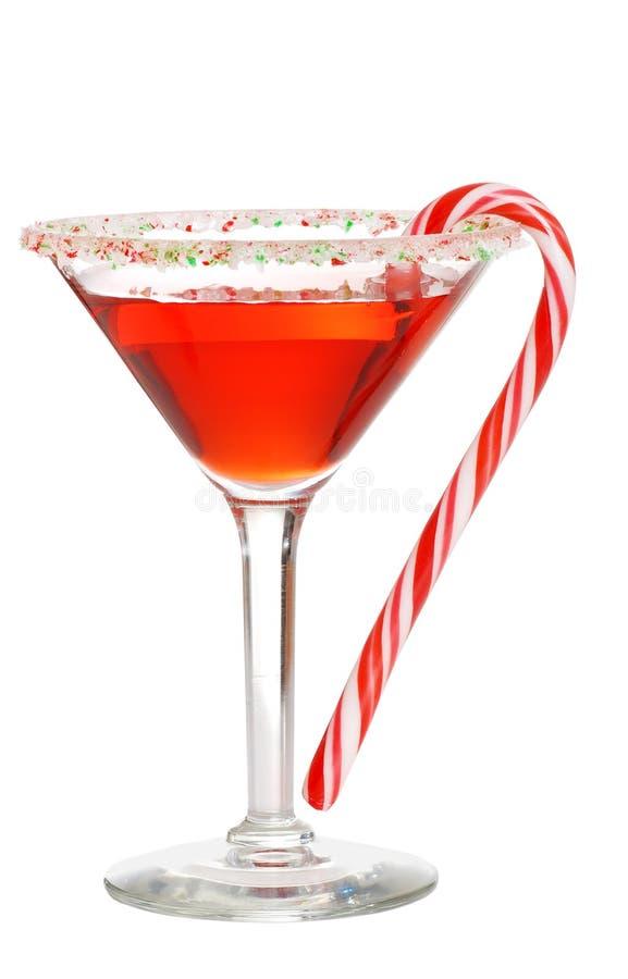 Vakantie martini met een suikergoedriet stock foto's