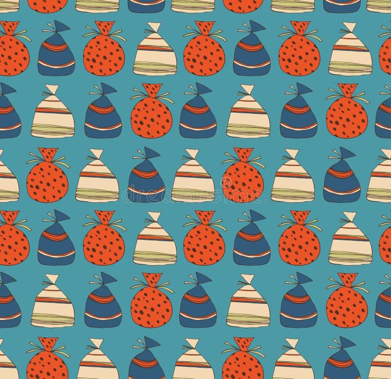 Vakantie naadloos patroon met zakken van giften Malplaatje voor beeldverhalen, ambachten, oppervlaktetexturen, Web-pagina's achte royalty-vrije illustratie
