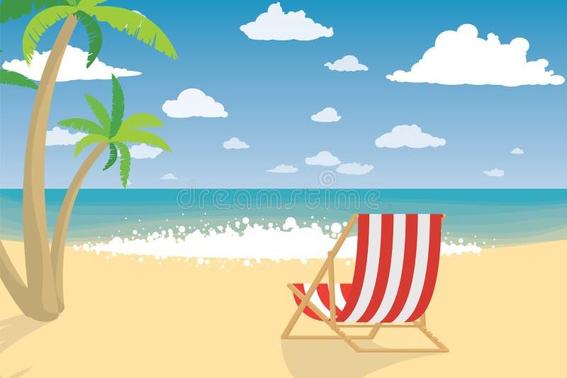 Vakantie op het strand Ligstoel op strand in Brighton royalty-vrije illustratie