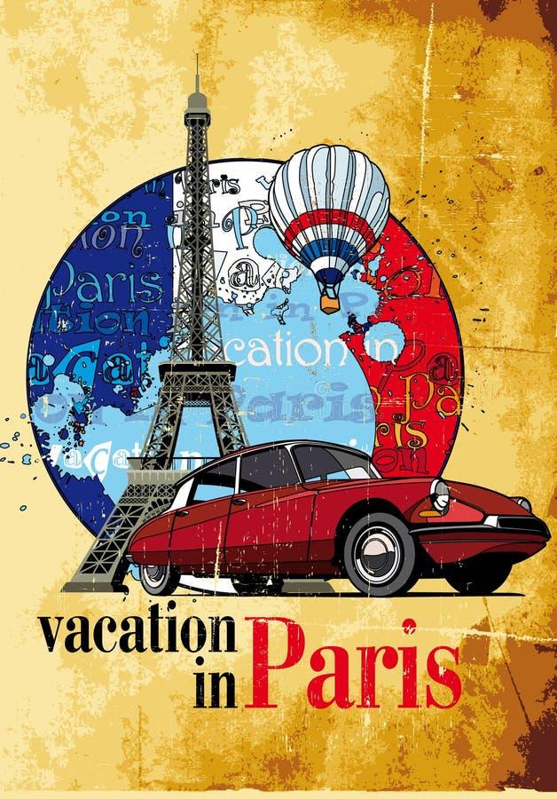 Vakantie in Parijs grunge royalty-vrije illustratie