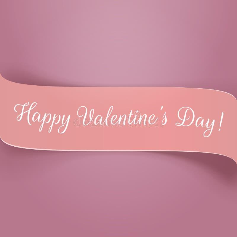 Vakantie roze document Valentijnskaartenlint met Tekst stock illustratie
