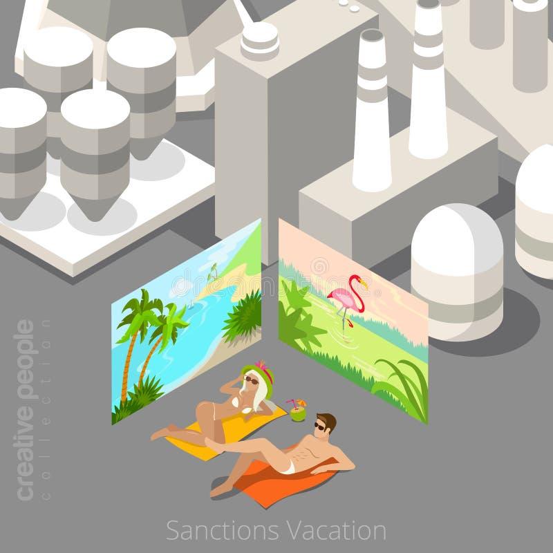 Vakantie tijdens sanctiesconcept Jong paarla vector illustratie