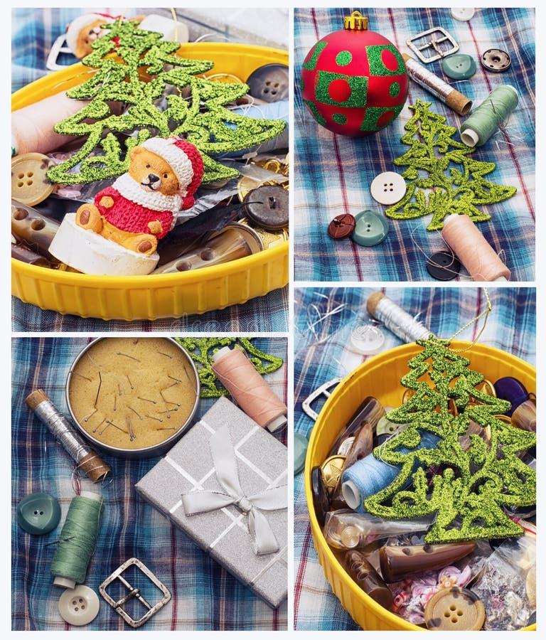 Vakantie van het collage de nieuwe jaar royalty-vrije stock afbeeldingen