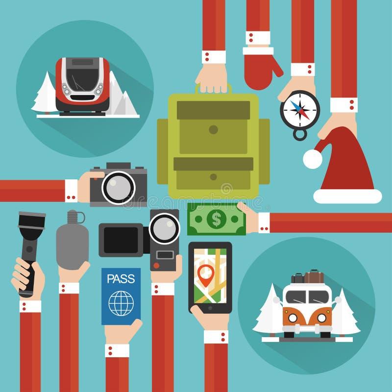 Vakantie, vlak Tijd toTravel ontwerp stock illustratie