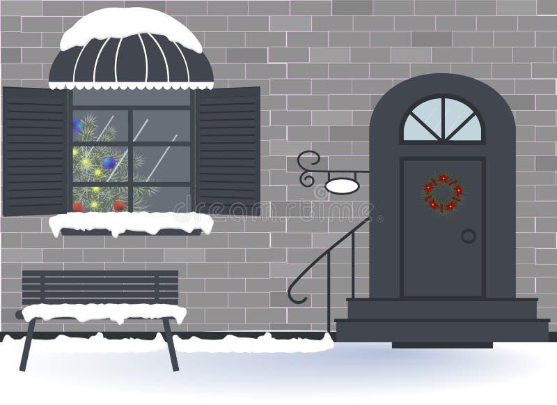 Vakantie: Vrolijke Kerstmis, Nieuwe jaar en Kerstmisviering Buitenhuisdeur en vensterdecoratie voor de Kerstmisvakantie vector illustratie
