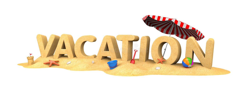 VAKANTIE - woord van zand stock illustratie