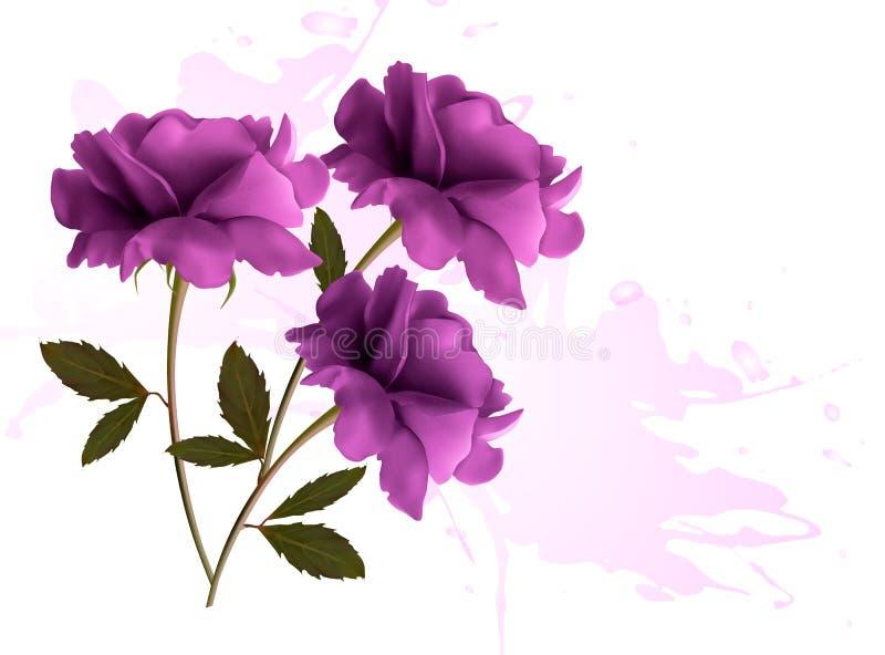 Vakantieachtergrond met drie mooie bloemen. royalty-vrije illustratie