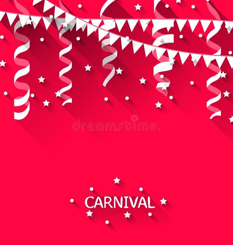 Vakantieachtergrond met het hangen van wimpels voor Carnaval-partij in t vector illustratie