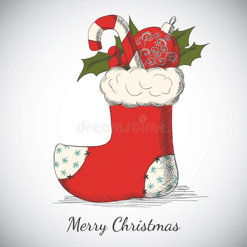 Vakantieachtergrond met Kerstmishand getrokken sok vector illustratie