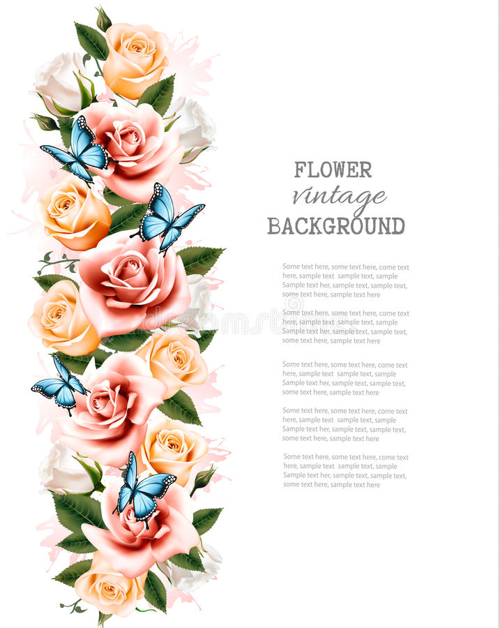 Vakantieachtergrond met mooie bloemen en vlinders vector illustratie