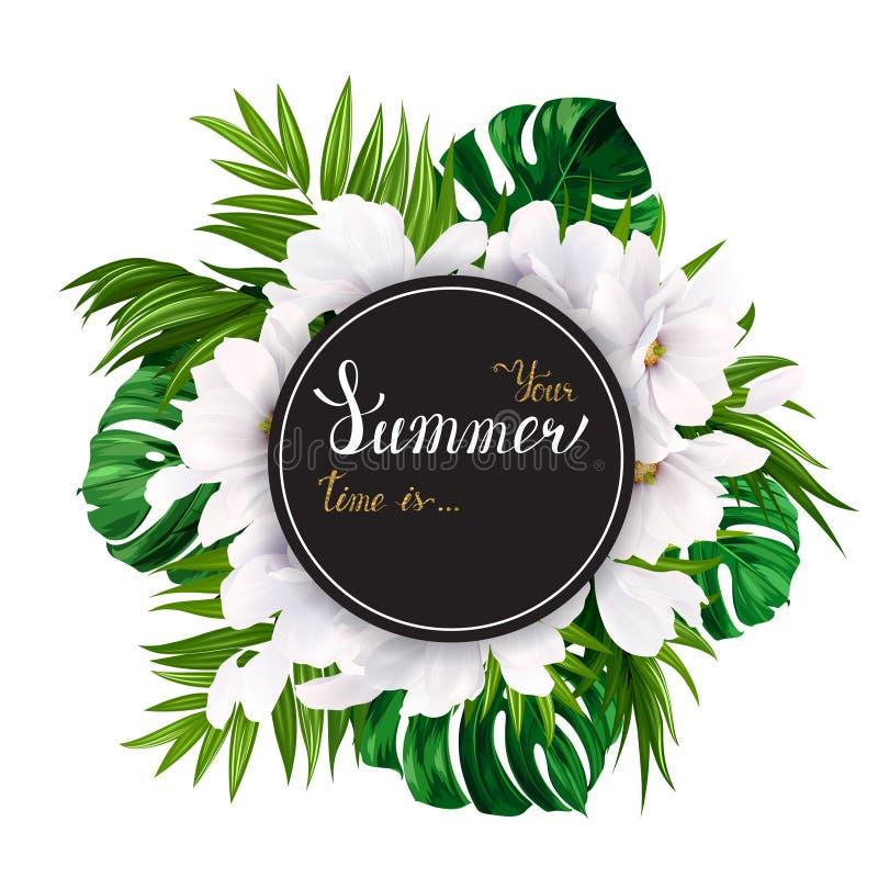 Vakantiebanner met tropische palm, monsterabladeren en magnolia bloeiende bloemen op de witte achtergrond Wit en goud stock illustratie