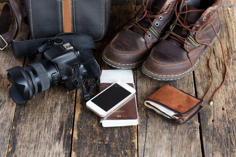 Vakantieconcept, Voorbereiding voor reis, smartphone stock afbeelding