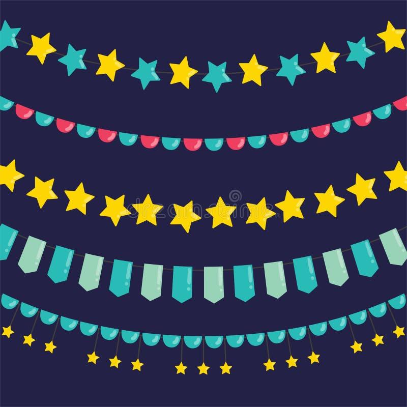 Vakantiedecoratie Reeks kleurrijke vieringsslingers royalty-vrije stock foto's