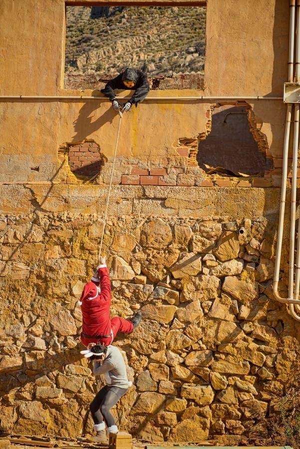 Vakantiehelden het beklimmen royalty-vrije stock foto