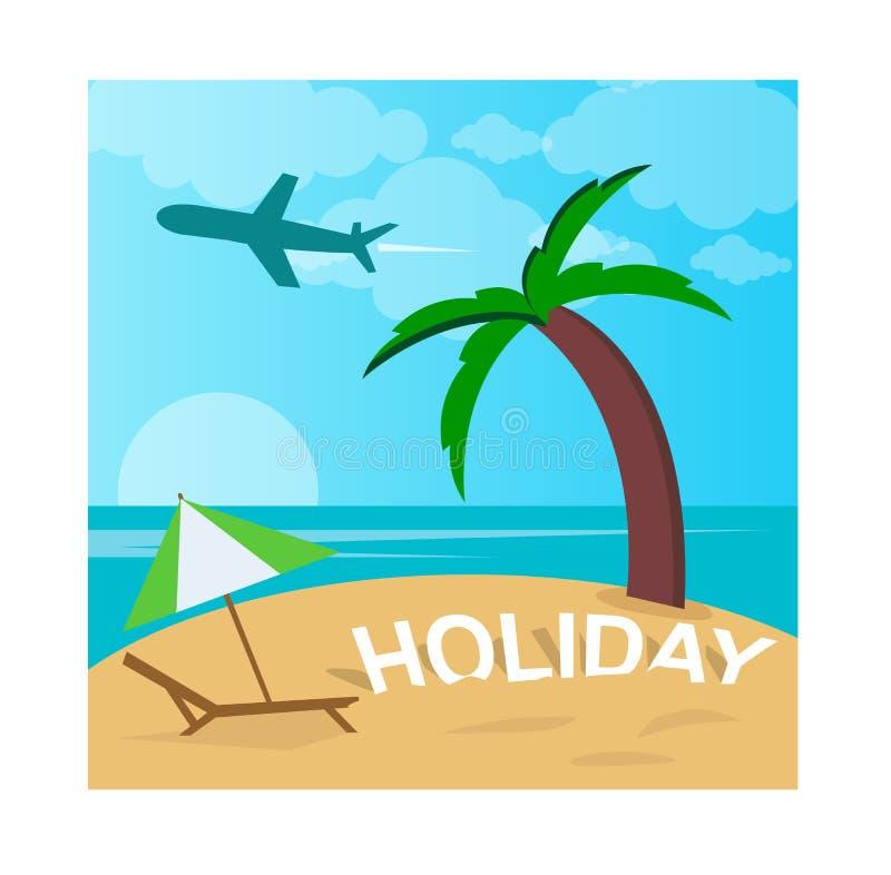 Vakantieillustratie met een aardig strand stock afbeeldingen