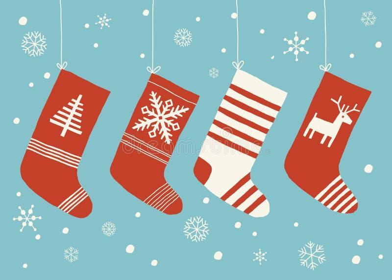 Vakantiekousen De vectordiereeks van Kerstmiskousen van achtergrond wordt geïsoleerd Diverse traditionele kleurrijk en overladen stock illustratie