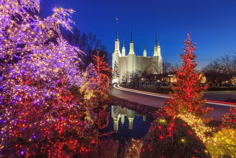 Vakantielichten bij de Tempel van het Washington DCgebied royalty-vrije stock afbeeldingen