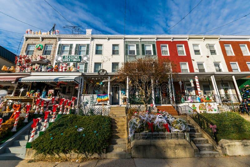 Vakantielichten en Decoratie in Hampden, Baltimore Maryland stock fotografie