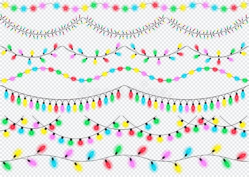 Vakantielichten, geïsoleerde ontwerpelementen, Het gloeien lichten voor Kerstmis, verjaardag, Nieuw jaar, het ontwerp van de groe royalty-vrije illustratie