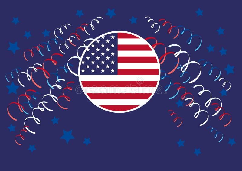 Vakantieontwerp met Amerikaanse vlag stock illustratie