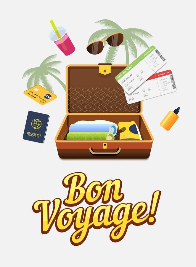 Vakantiereis aan andere landen Reiswereld vlucht toerisme Kleurrijke banner stock illustratie