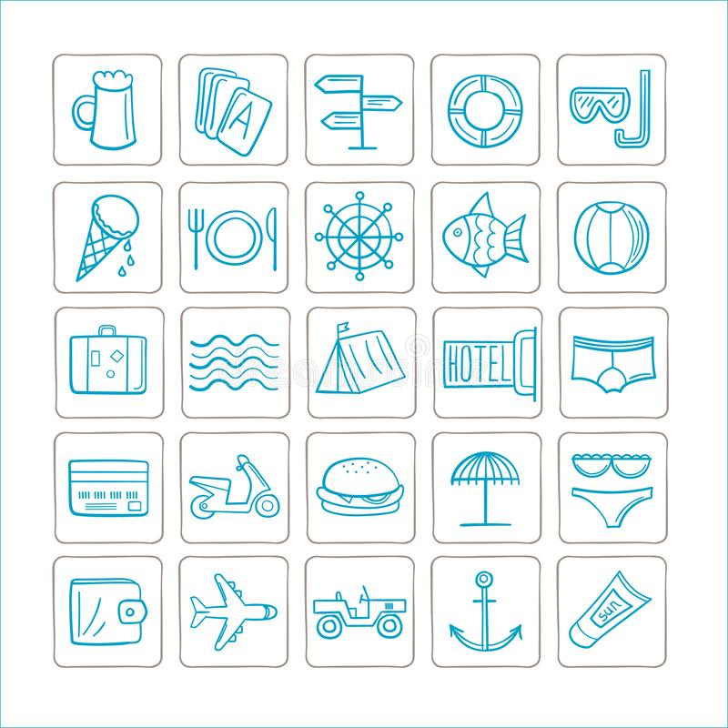 Vakanties - reeks pictogrammen Vector grafiek Blauw-zilveren kleur vector illustratie