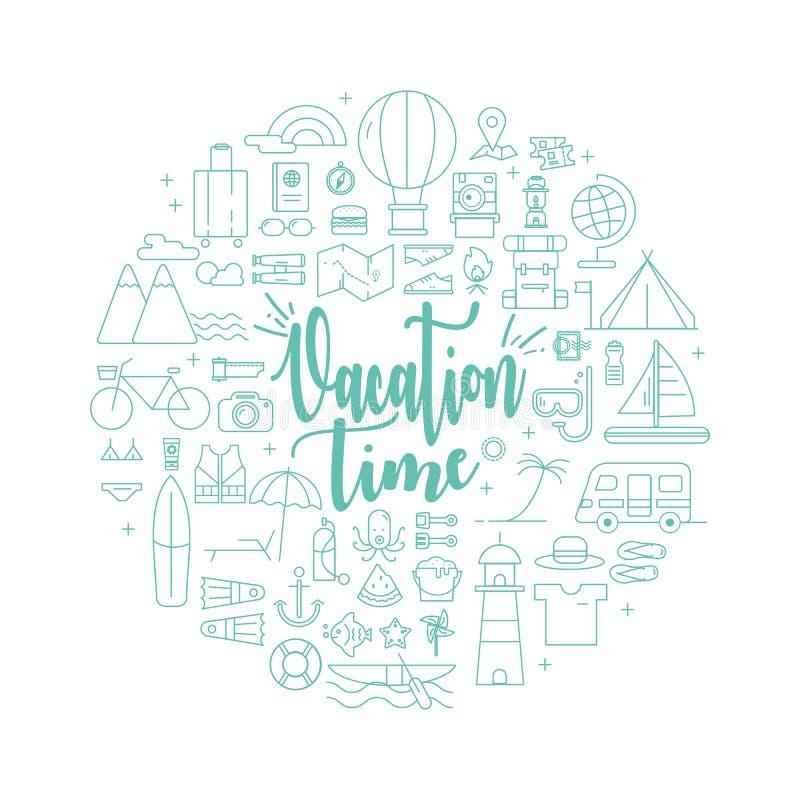 Vakantietijd met Reizende activiteitenpictogrammen royalty-vrije illustratie
