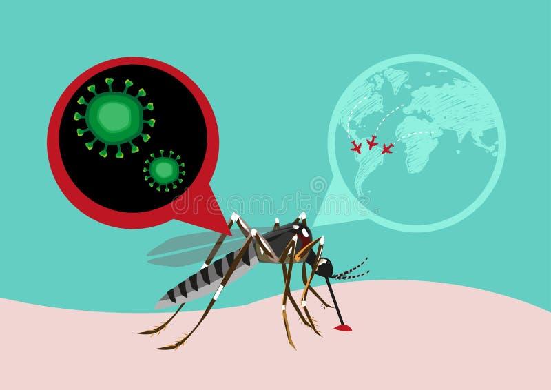 Vaket begrepp för för Zika virusutbrott och lopp Redigerbar gemkonst stock illustrationer