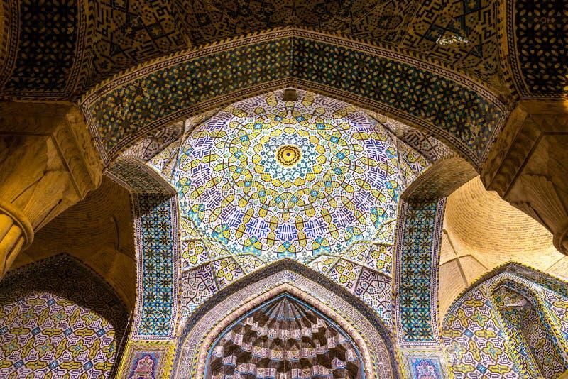 Vakil清真寺内部在设拉子,伊朗 库存照片
