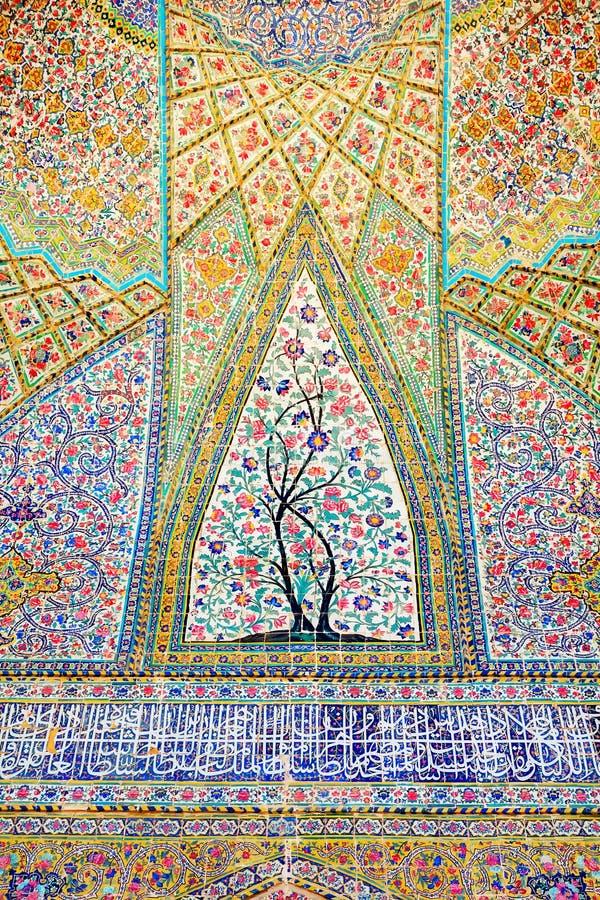 Vakil清真寺墙壁的片段在设拉子 建筑学的古老纪念碑在伊朗 免版税库存图片
