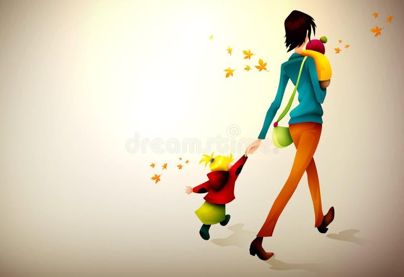 Vakna för höstkvinna som skynda sig med henne barn vektor illustrationer