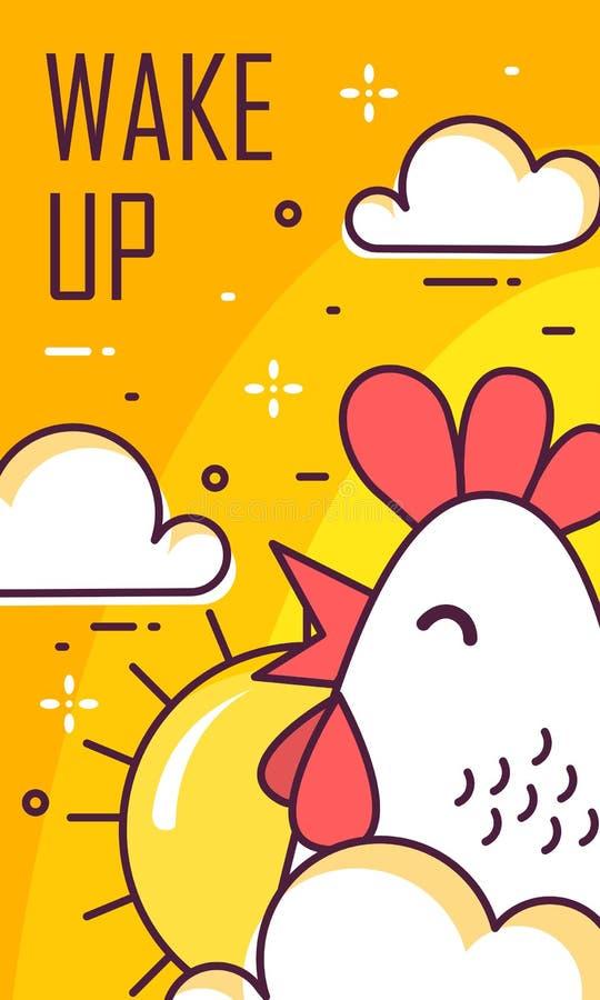 Vakna upp kort med tuppen, moln och solen Tunn linje lägenhetdesign Baner för bra morgon för vektor royaltyfri illustrationer