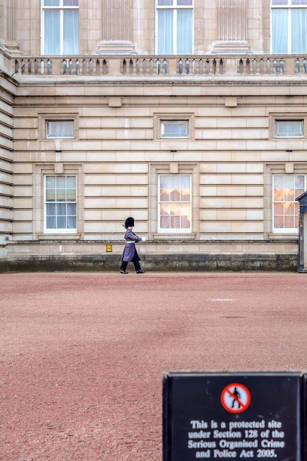 Vakt för fot för drottning` s på Buckingham Palace royaltyfri foto