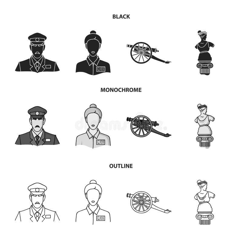 Vakt handbok, staty, vapen Fastställda samlingssymboler för museum i svart, monokrom, materiel för symbol för översiktsstilvektor stock illustrationer