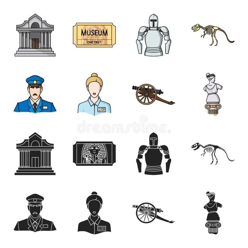 Vakt handbok, staty, vapen Fastställda samlingssymboler för museum i svart, rengöringsduk för illustration för materiel för symbo vektor illustrationer