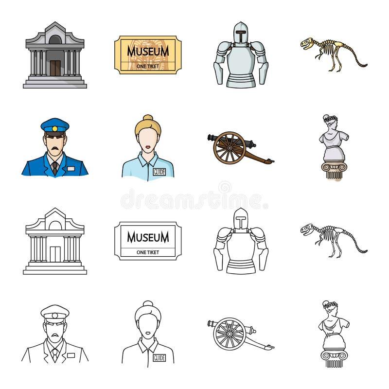 Vakt handbok, staty, vapen Fastställda samlingssymboler för museum i tecknade filmen, rengöringsduk för illustration för materiel stock illustrationer
