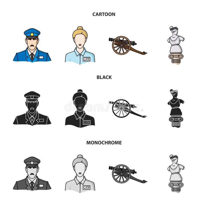 Vakt handbok, staty, vapen Fastställda samlingssymboler för museum i tecknade filmen, svart, monokromt materiel för stilvektorsym vektor illustrationer