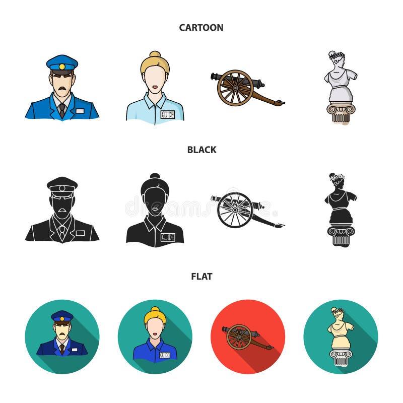 Vakt handbok, staty, vapen Fastställda samlingssymboler för museum i tecknade filmen, svart, rengöringsduk för illustration för m stock illustrationer