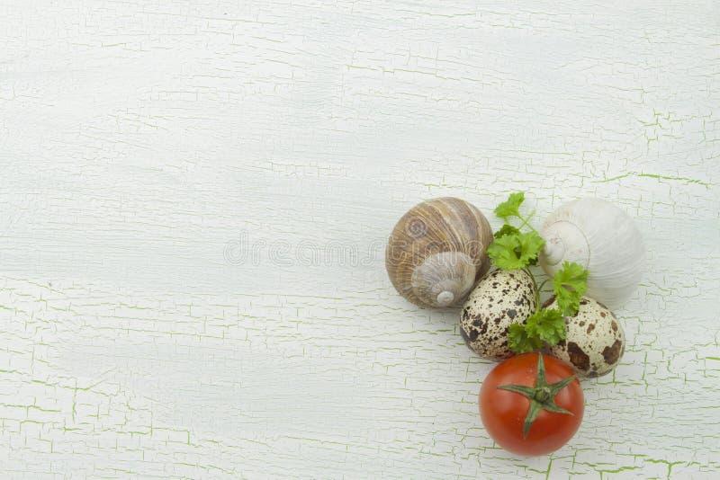 Vaktelägg, snigelskal och grönsaker på skuggat ett gammalt för uppläggningsfat royaltyfri fotografi