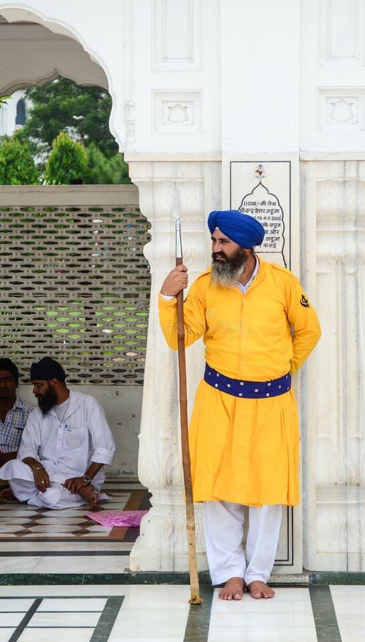 Vakten som arbetar på den guld- templet i Amritsar, Indien royaltyfri foto