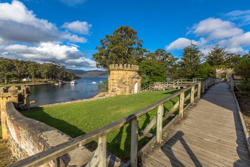 Vakten Tower i port Arthur Tasmania fotografering för bildbyråer