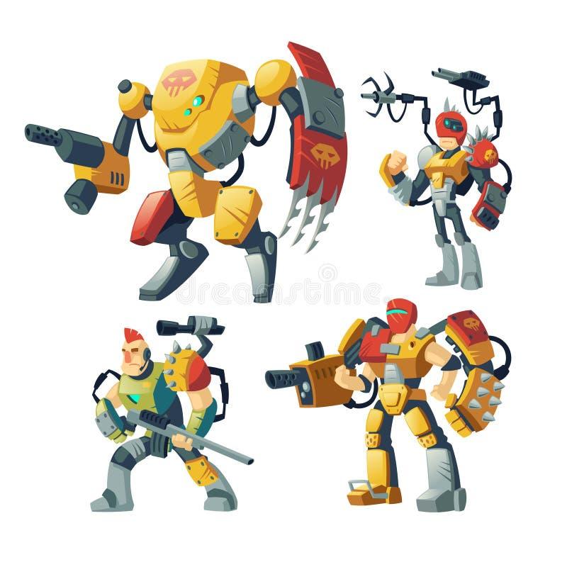 Vakter för vektortecknad filmrobot, futuristisk exoskelettharnesk vektor illustrationer