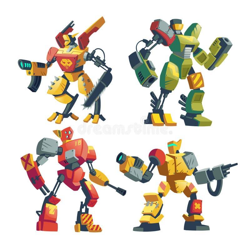 Vakter för vektortecknad filmrobot, futuristiska stridandroider royaltyfri illustrationer
