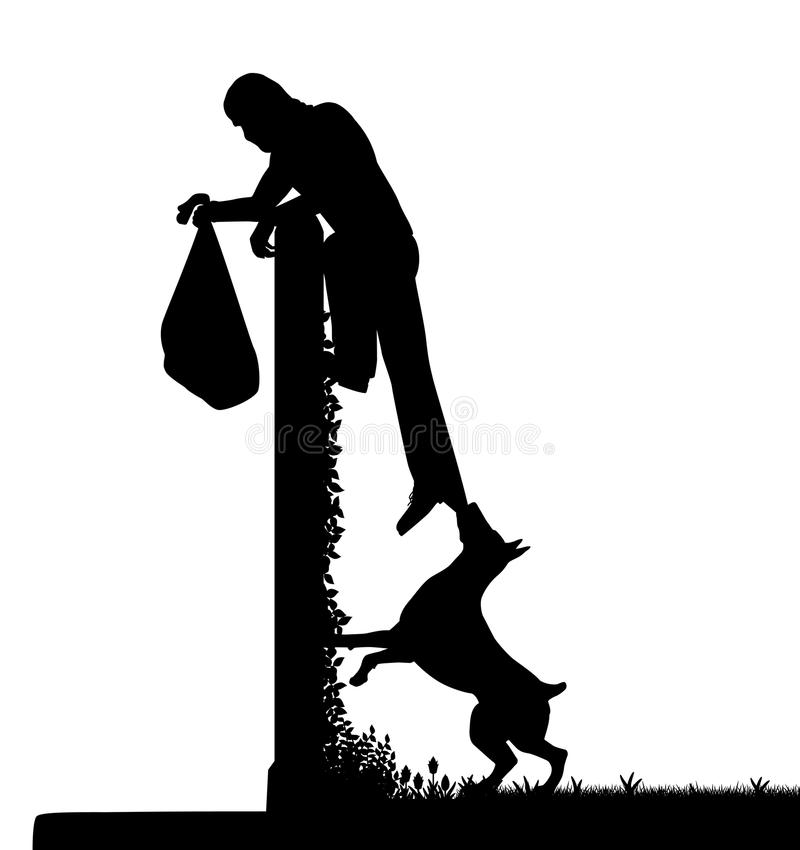 Vakthund och inkräktare stock illustrationer