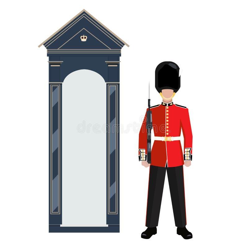 Vaktpost av grenadjären Guards utanför Buckingham Palace - vektorillustration stock illustrationer