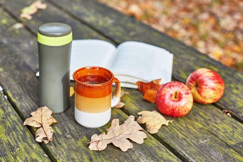 Vakuumflasche mit heißem Tee, Becher, Äpfeln und Buch lizenzfreie stockfotos