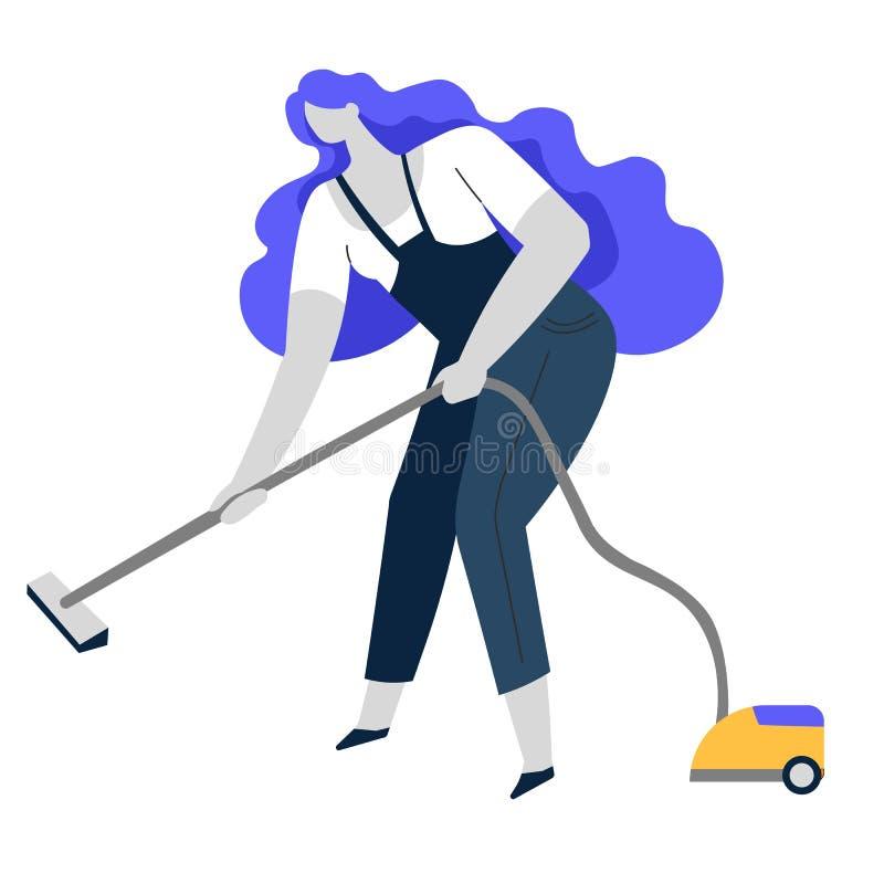 Vakuumlokalvård, ren service eller hemmafru, hushållsyssla stock illustrationer