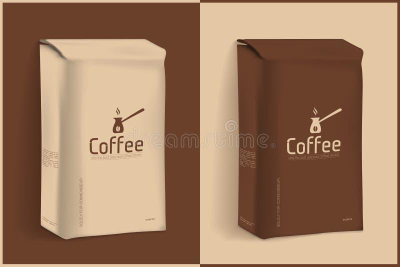 Vakuumpacke av kaffe stock illustrationer