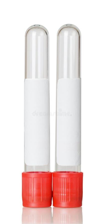 Vakuumreagenzgläser lokalisiert auf weißem Hintergrund stockfotografie