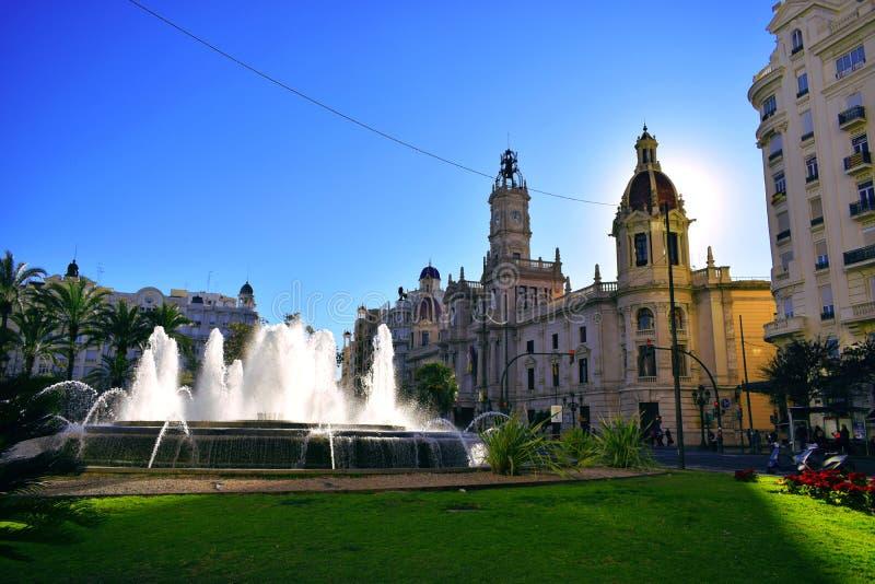 Valência, capital, cidade, nascente de água, verde, céu, fonte fotos de stock royalty free